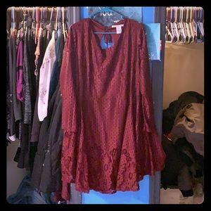 Maroon dress.